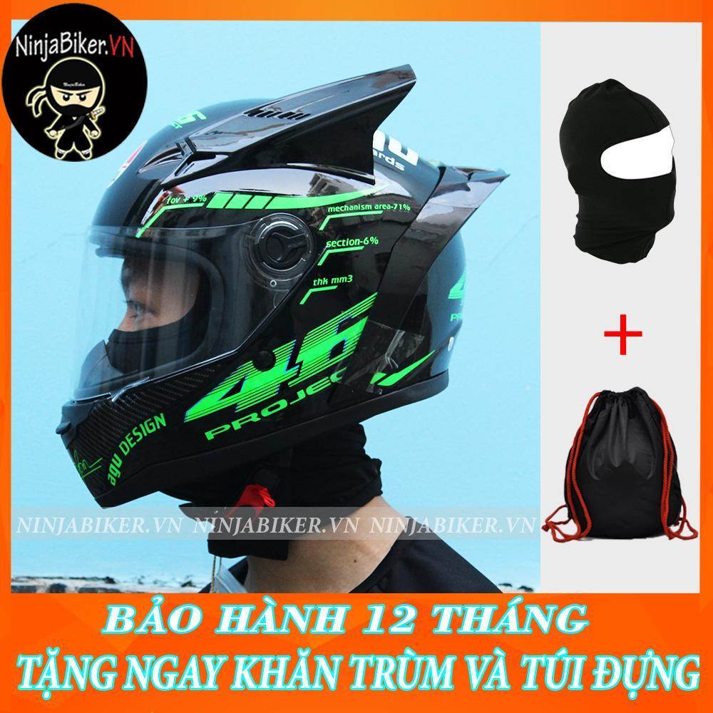 Nón bảo hiểm AGU Tem Xanh Lá gắn sừng và đuôi gió (tặng khăn Ninja,túi và thùng)