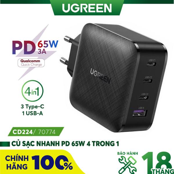 Củ sạc siêu nhanh UGREEN CD224 65W CD226 100W hỗ trợ 3 cổng USB Type C PD và 1 cổng USB A tương thích điện thoại thế hệ mới iPhone 13
