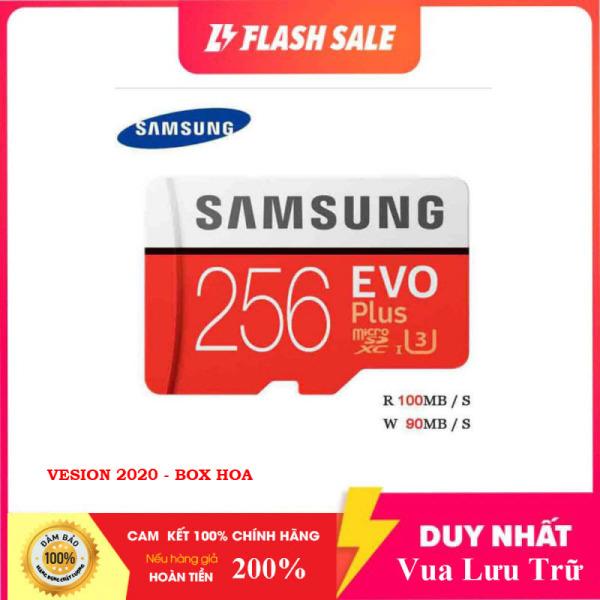 Thẻ nhớ MicroSDXC Class 10 Samsung Plus 256GB Box Hoa U3 4K R100MB/s W90 MB/s New 2020 (Đỏ) + Kèm Adapter