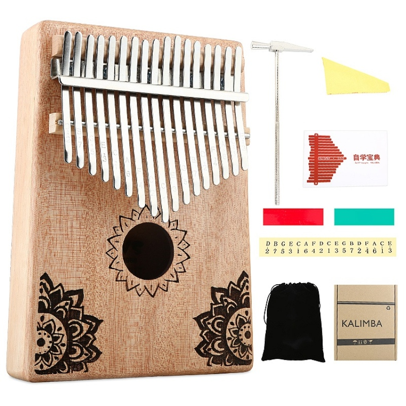 17 Key Kalimba African Solid Wood Thumb Finger Piano Sanza Mbira Calimba Play with Guitar Wood Musical Instruments Malaysia