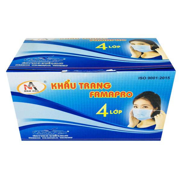 Khẩu trang y tế 4 lớp hộp 50 cái, Màu xanh dương kháng khuẩn, chống bụi, dây đeo chắc chắn,có thanh ngang nhựa ôm mũi vừa vặn theo mọi kiểu mũi. Thương hiệu NAM ANH có dập logo nổi, giá thành cực tốt