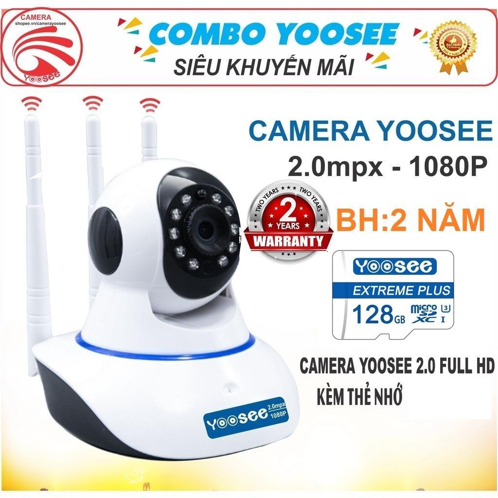 (KÈM Thẻ Nhớ SD YOOSEE 128 GB, BẢO HÀNH 24 THÁNG) Camera IP Wifi Yoosee 3 Râu xoay 360 độ, độ phân giải FULL HD 2.0MP 1920x1080P - Không Dây, Camera trong nhà, ngoài trời - Camera hồng ngoại tích hợp ghi âm, lưu trữ dữ liệu