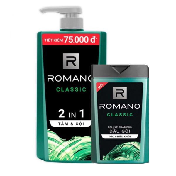 Dầu gội sạch gàu- dưỡng da đầu Romano Classic 650gr & tắm gội 2in1 Romano Classic 150gr cao cấp