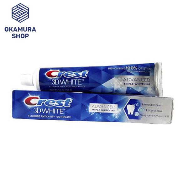 Kem đánh răng Crest 3D White Advanced Triple Whitening tuýp 158g từ Mỹ