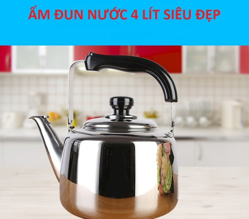 [SÔI CÒI REO - DÙNG ĐƯỢC BẾP TỪ] Ấm đun nước có còi reo 4L LIT THÁI LAN inox cao cấp - Ấm đun nấu nước dùng được bếp từ