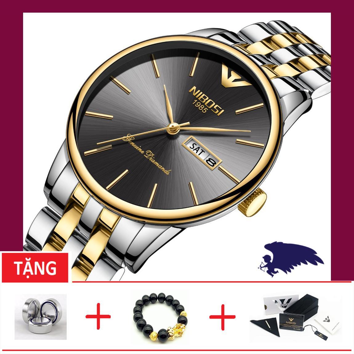 Nơi bán Đồng hồ nam dây thép đặc không gỉ Nibosi OT233-2T sang trọng (TẶNG BOX, PIN, VÀ VÒNG TAY TỲ HƯU)