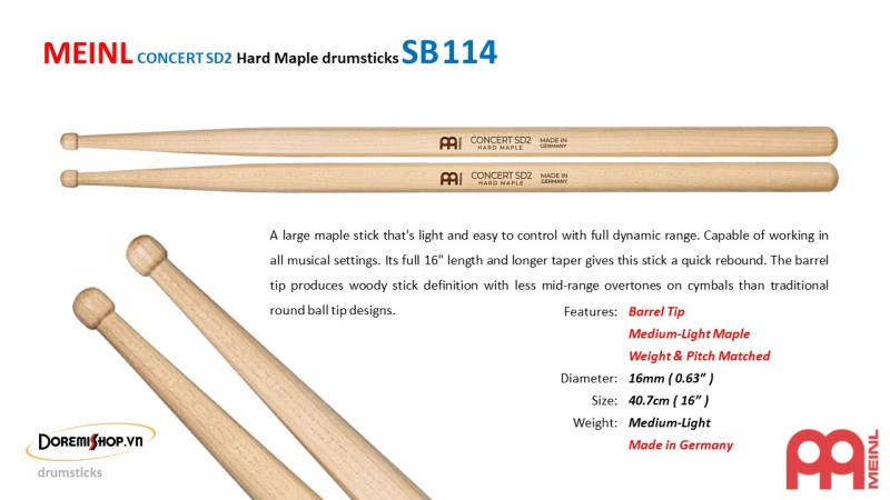 MEINL CONCERT SD2 Hard Maple drumsticks SB114