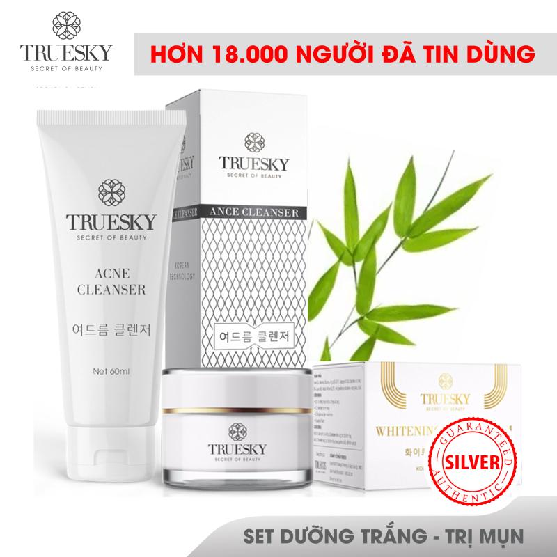 Bộ sản phẩm ngừa mụn và dưỡng trắng da mặt Truesky gồm 1 sữa rửa mặt than hoạt tính 60ml & 1 kem dưỡng trắng da mặt 10g giá rẻ