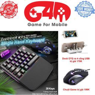 TRỌN BỘ DÀNH CHO GAME THỦ Bàn phím bán cơ Free Wolf K11 chuyên game 28 phím chơi game Pubg Mobile, Rules of Survival, Free Fire trên điện thoại, máy tính bảng, Laptop và PC thumbnail