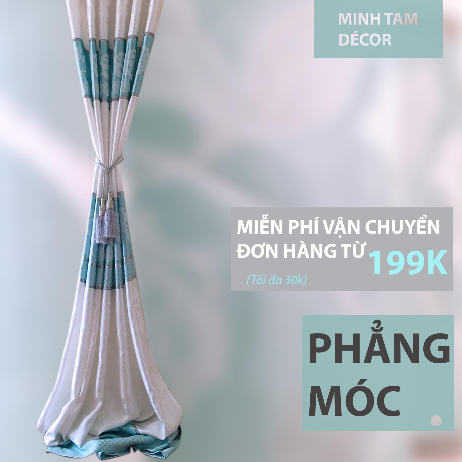 Rèm Cửa Sổ Minh Tâm Cản Nắng - Mẫu 2019 - Gấm Kim Tuyến Xanh Biển Có Giá Cực Tốt