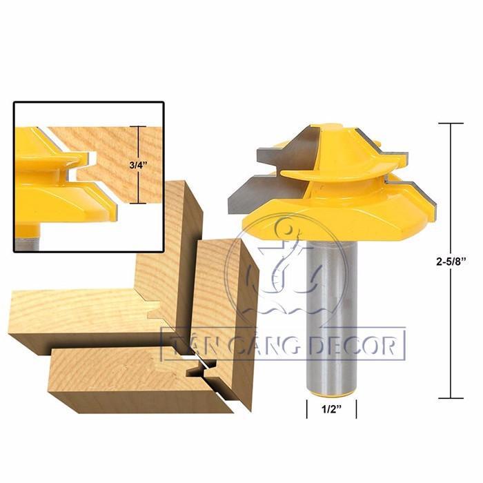 Mũi Router Ghép Góc 90 Độ Cho Ván Dày 15 - 20 mm Cốt 12.7 mm