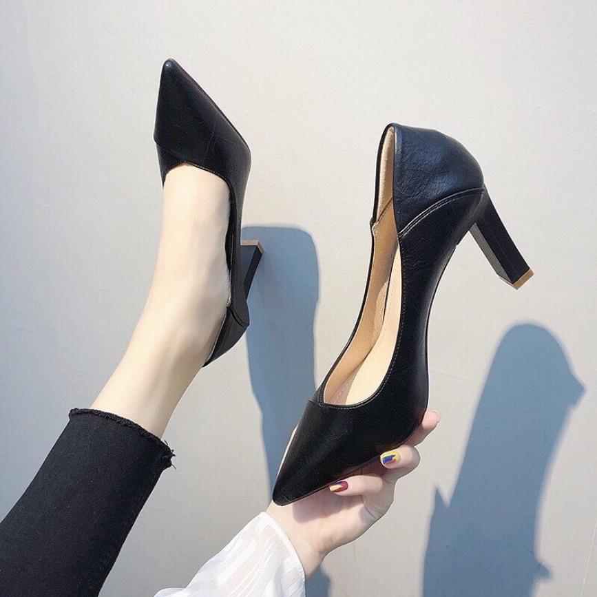 Giày cao gót 7P da nhăn siêu tôn dáng mã LCC19 giá rẻ