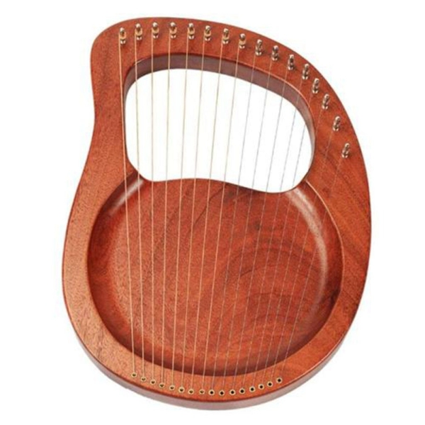 16 String Wooden Lyre Harp Metal Strings Mahogany Solid Wood String Instrument with Tuning Wrench