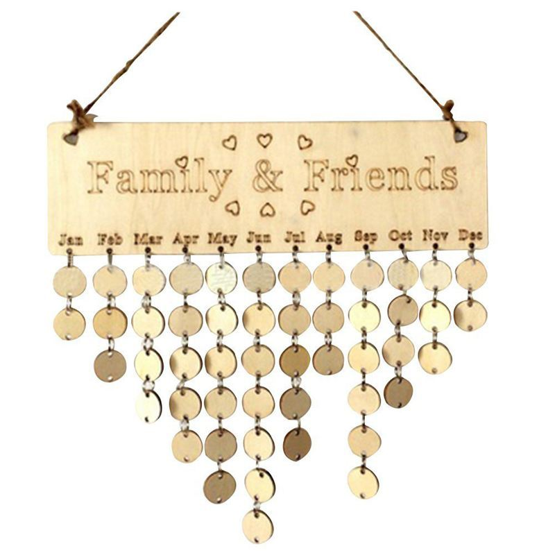 Family&Friends Hanging Calendar Wooden Board Birthday Reminder Plaque Home Decor