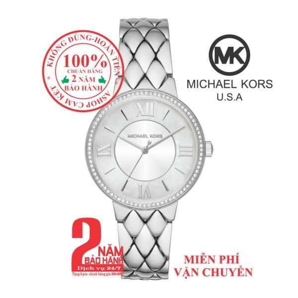 Đồng hồ nữ MK Courtney Pave MK3703, Vỏ, mặt và dây màu Bạc (Silver), viền khảm đá pha lê Swarovski, size 36mm - Part no: MK3703
