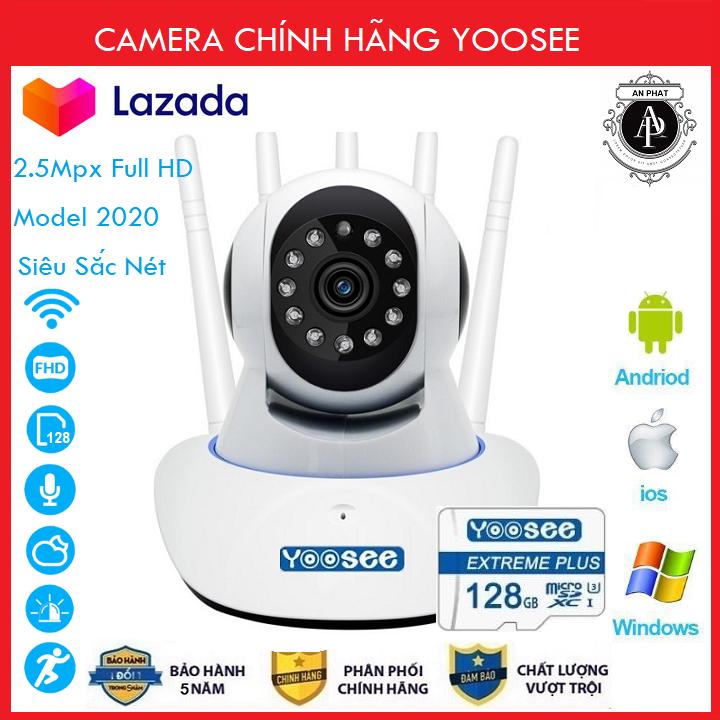 (COMBO Thẻ Nhớ SD YOOSEE 128 GB, BẢO HÀNH 60 THÁNG)Camera IP Wifi Yoosee 5 Râu xoay 360 độ, độ phân giải FULL HD 2.5MP 1920x1080p Không Dây,Camera trong nhà - An Phat Company (MÃ KÈM THẺ GIÁ 385K VÀ KHÔNG THẺ 305K)