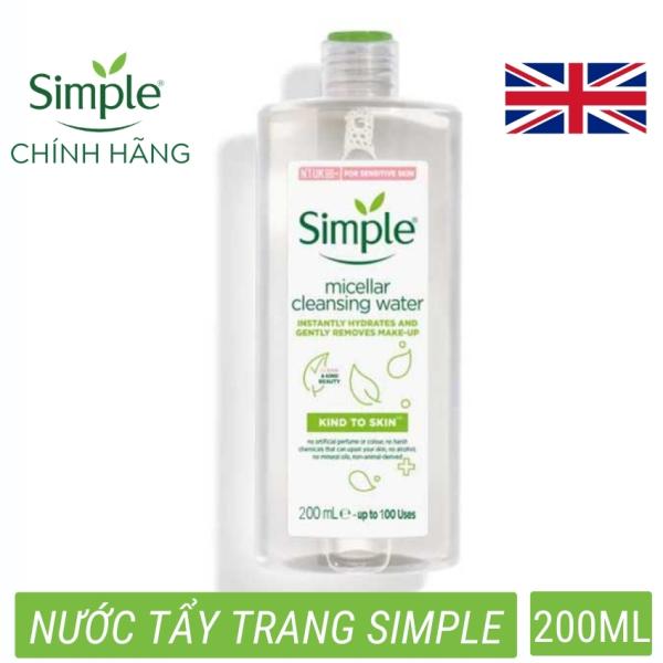 Nước tẩy trang Simple Kind to Skin Micellar Cleansing Water không chứa cồn Làm Sạch Da Sâu phù hợp mọi loại da (200ml) nhập khẩu