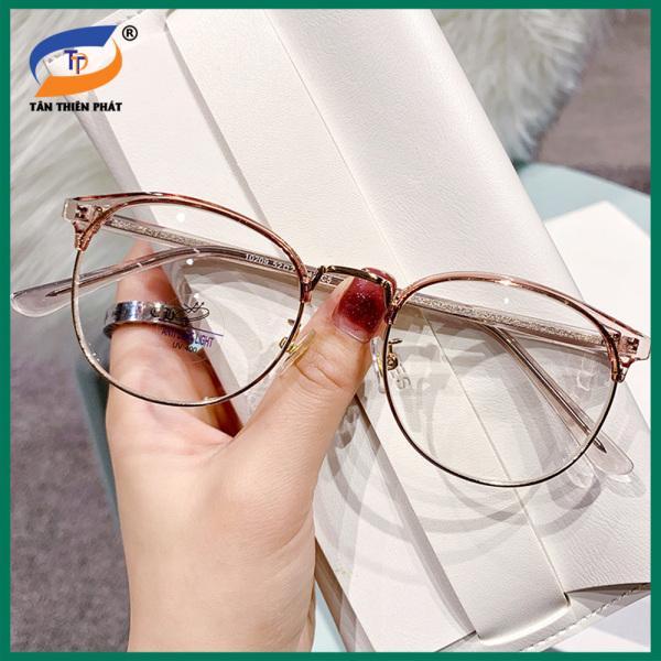 Mua Gọng kính cận nam nữ mắt tròn kim loại/nhựa màu nâu, xám, đen 10209. Tròng kính giả cận 0 độ chống ánh sáng xanh, chống nắng và tia UV