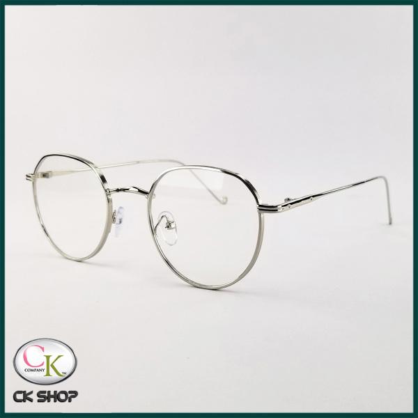Giá bán Gọng kính cận nam nữ mắt tròn kim loại màu bạc, đen, vàng 3514. Tròng kính giả cận 0 độ chống ánh sáng xanh, chống nắng và tia UV
