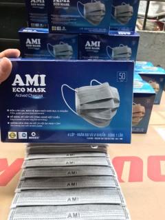[1 hộp 50 chiếc Trắng] Khẩu trang y tế AMI 4 lớp than hoạt tính kháng khuẩn ngừa dịch chống thấm nước lọc bụi thumbnail