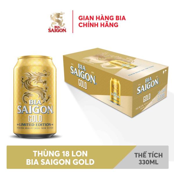 Thùng 18 lon bia SÀI GÒN GOLD - SABECO - 330ml/lon