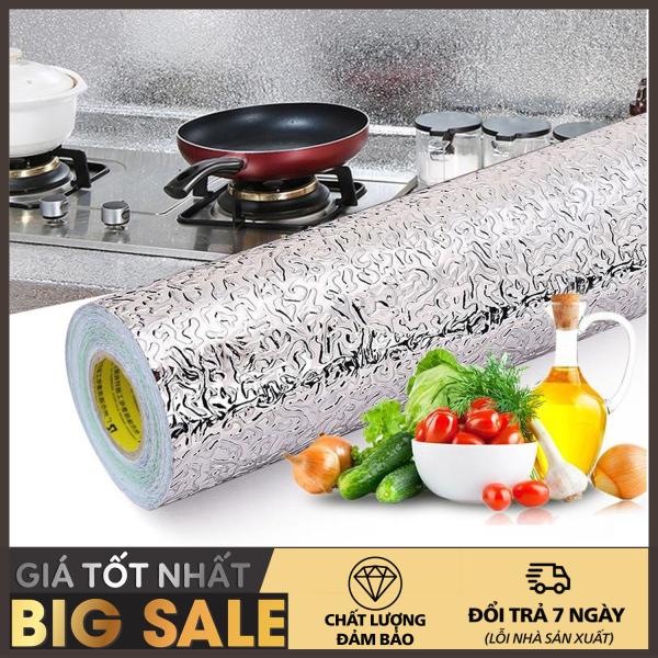 Giấy bạc dán nhà bếp cao cấp -Giấy Bạc Dán Nhà Bếp - Cuộn 3m decal giấy dán bếp tráng nhôm cách nhiệt ô vuông bạc khổ 60cm keo sẵn dễ dàng lau chùi - Hiện đại, phong cách