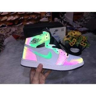 (FREESHIP) Giày thể thao sneaker nam nữ jordan 1 high cổ cao màu đen trắng phản quang đế trắng thumbnail