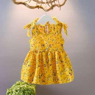 KTtrade Quần Áo Bé Gái Mùa Hè, Đầm Không Tay Thường Ngày, Dây Đeo Họa Tiết Hoa Váy Dễ Thương Váy Cotton Cho Trẻ Tập Đi