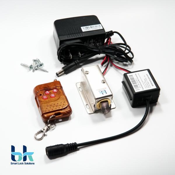 Bộ khóa cửa điện từ BK Smart Lock BK-C01M12, chốt vát 12V, remote điều khiển 315 Mhz