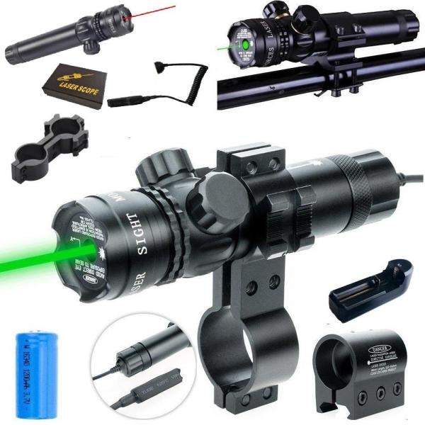 Đèn laser - bút Laze - Gắn Rảnh kẹp Nòng -  làm tầm nhắm chuẩn mục tiêu cho các tay xạ tĩa  màu đỏ và xanh,kèm cục sạc pin
