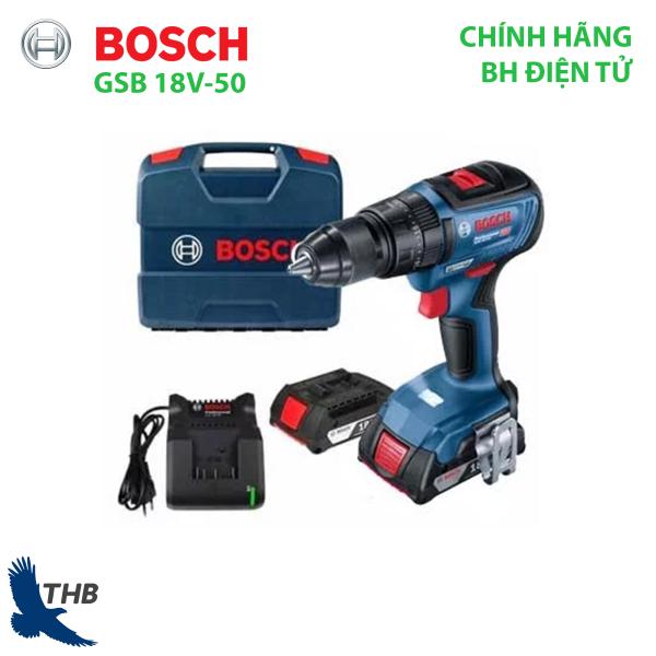 Máy khoan bắt vít dùng pin Bosch GSB 18V-50 Mô tơ không chổi than mạnh mẽ cho độ bền và linh hoạt Xuất xứ Malaysia