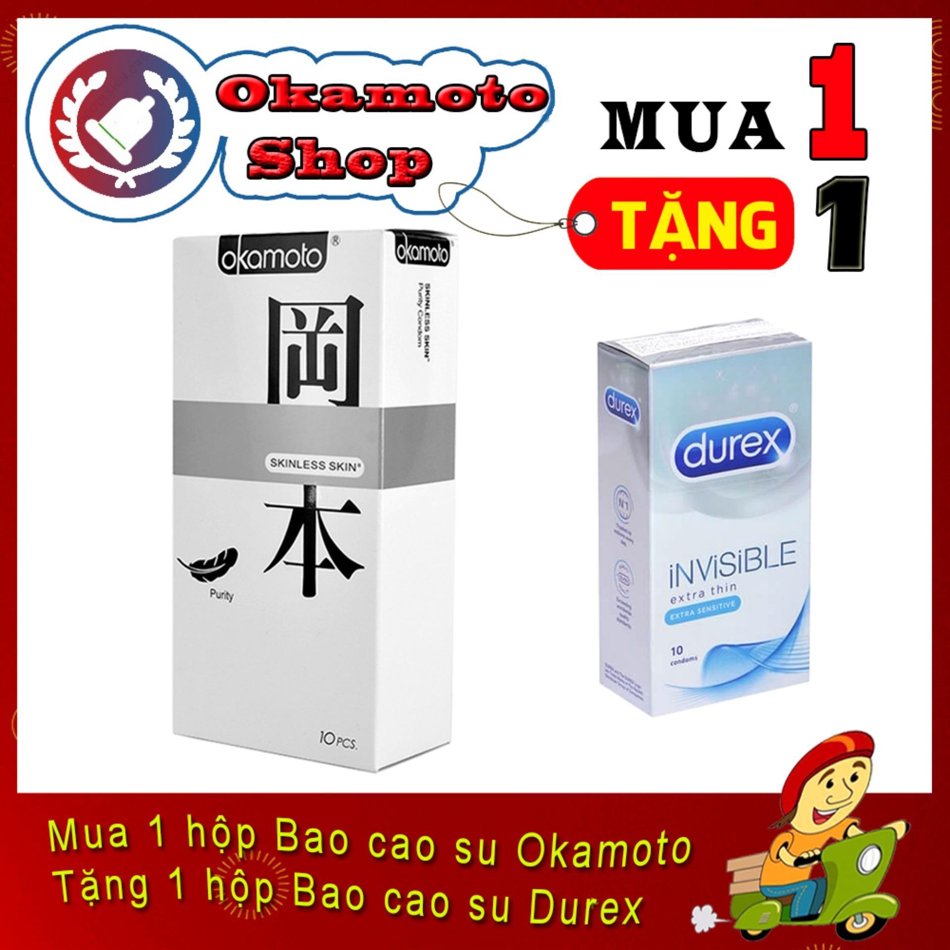 [Mua 1 tặng 1] Bao Cao Su Okamoto Purity siêu mỏng 0.05mm 10s - Tặng Bao cao su Durex Invisible cực siêu mỏng 10s