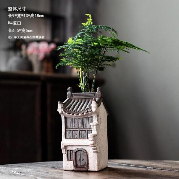 Nhà Cổ Trồng Cây Mẫu Số 5 ( Chưa Bao Gồm Thực Vật) Trang Trí Tiểu Cảnh Để Bàn Bonsai Mini- Chất Liệu Gốm Tử Sa
