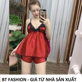 Đồ Bộ Mặc Nhà Vải Phi Bóng Mềm Mát - BT Fashion (Ren Ngực) + Video, Hình Thật HD01 thumbnail