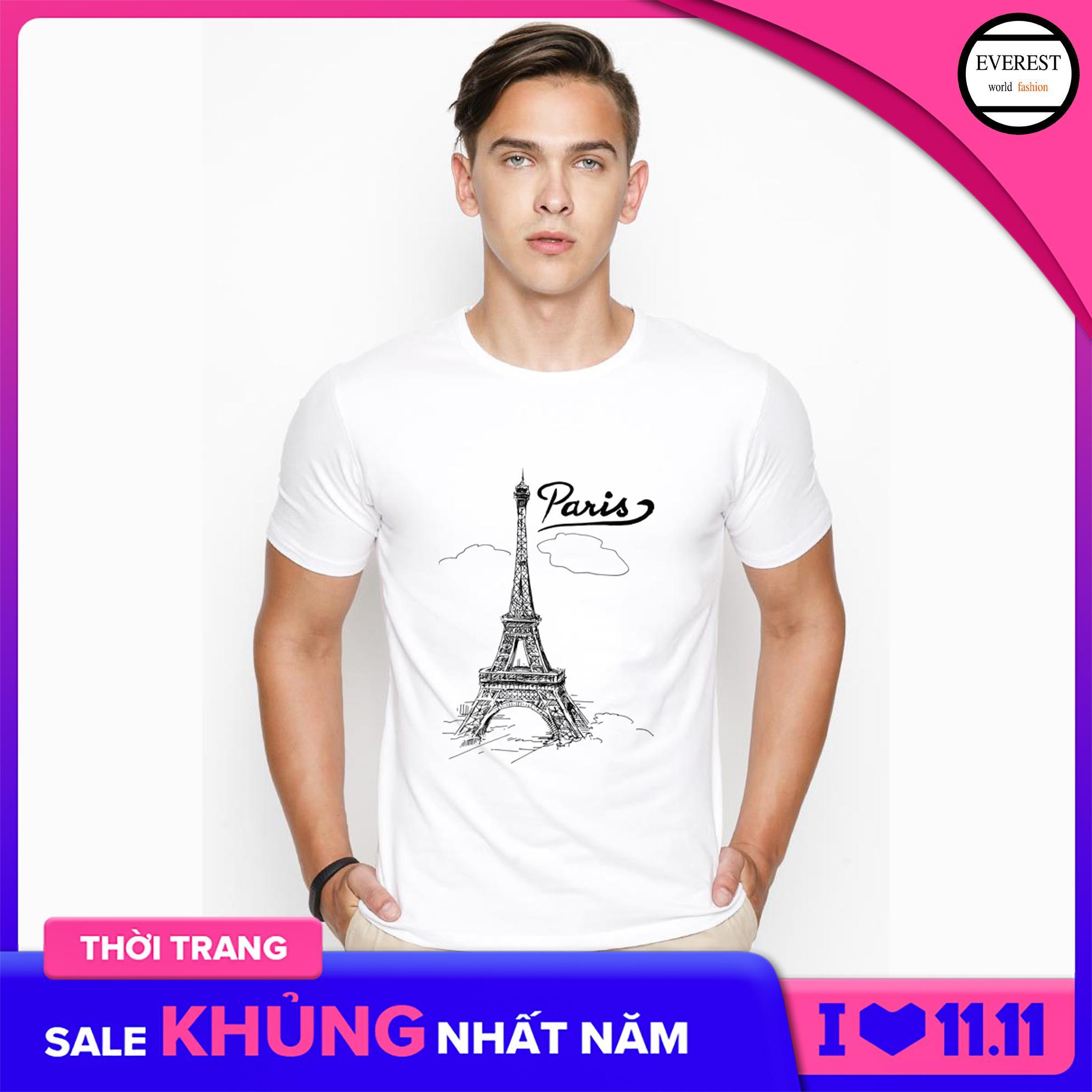 Áo Thun Nam In Hình Paris Mây Phong Cách Hàn Quốc Vải Dày Mịn AokNAM418 Giảm Cực Đã