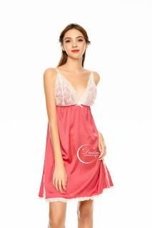 Dreamy- VX22-Váy ngủ lụa cao cấp, váy ngủ nữ dáng xòe váy ngủ nữ 2 dây sexy phối ren ngực kết hợp xẻ tà dưới chân váy có 3 màu xanh bơ, xám và hồng vôi thumbnail