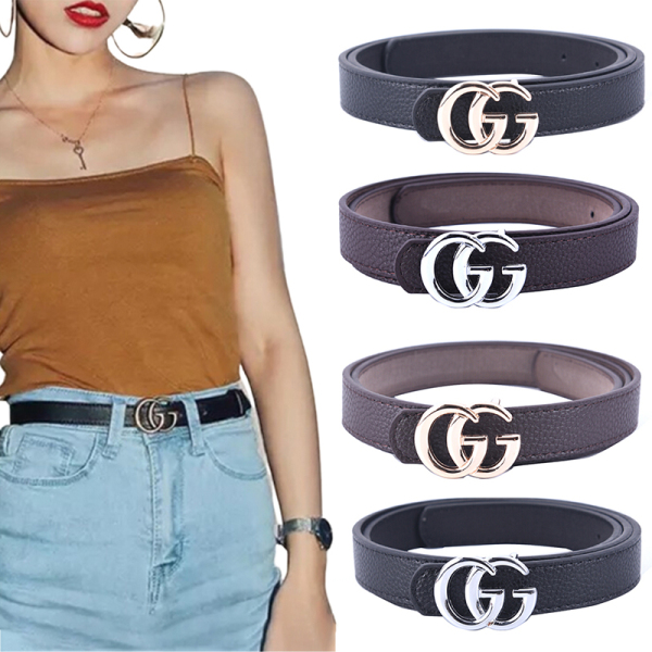 Giá bán LGJ Women Fashion Double G Waist Belt Dress Belt Thin GG Buckle Leather Waistband