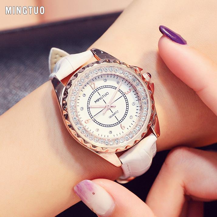 Đồng hồ Nữ MINGTUO ORLAN Hàn Quốc  - Viền Đính Hạt + Tặng hộp & Pin bán chạy