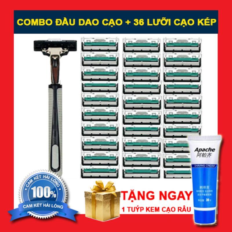 COMBO Bộ dao cạo râu và 36 lưỡi dao kép tặng kèm 1 tuýp kem cạo râu tốt nhất