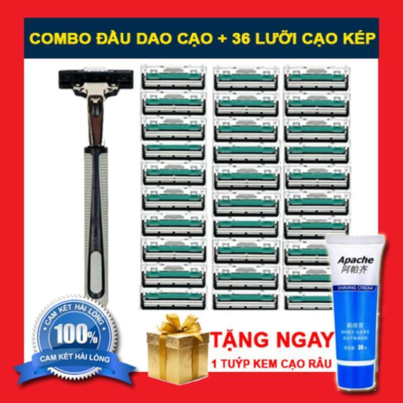 COMBO Bộ dao cạo râu và 36 lưỡi dao kép tặng kèm 1 tuýp kem cạo râu