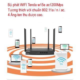 Wifi Phát Sóng Mạnh, Bộ phát sóng wifi 4 râu cực mạnh. Thiết bị phát sóng Wifi. Bộ Phát WIFI Tenda W15e Ac1200mps Tốc Độ Cao, Đường Truyền Ổn Định, Vùng Phủ Sóng 300m2. thumbnail