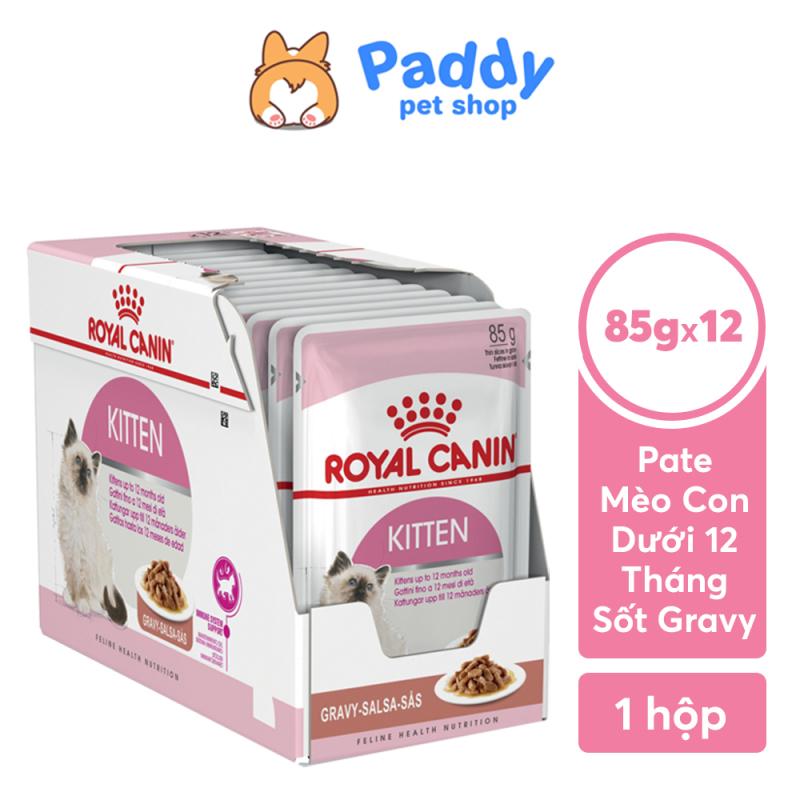 [HCM][Hộp 12 Gói] Pate Cho Mèo Con Royal Canin Kitten Gravy Dạng Sốt Túi 85g
