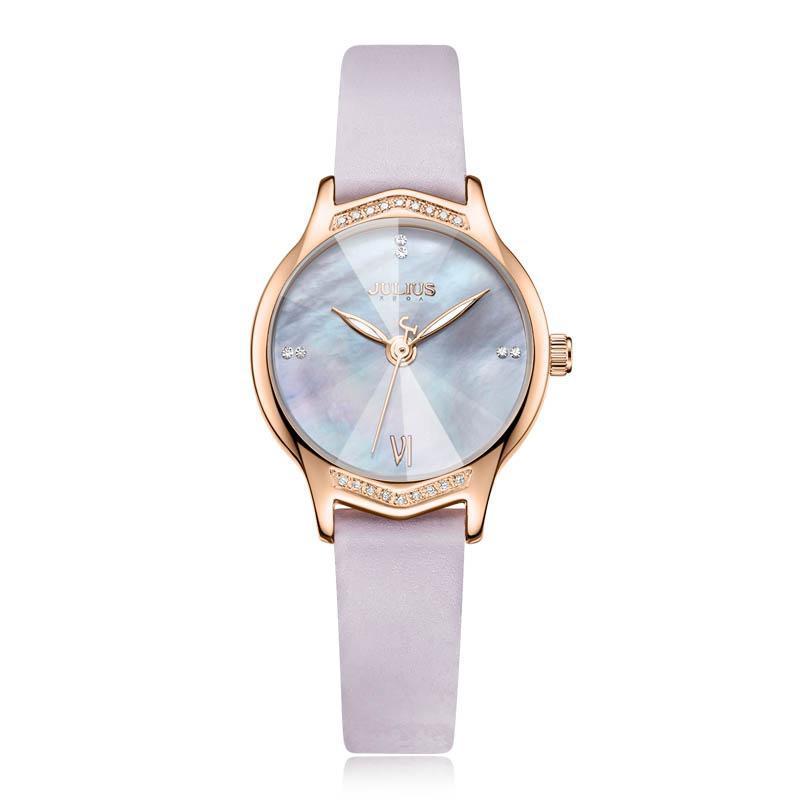 Đồng hồ nữ Julius Hàn Quốc JA-1155 dây da lăng kính 3D