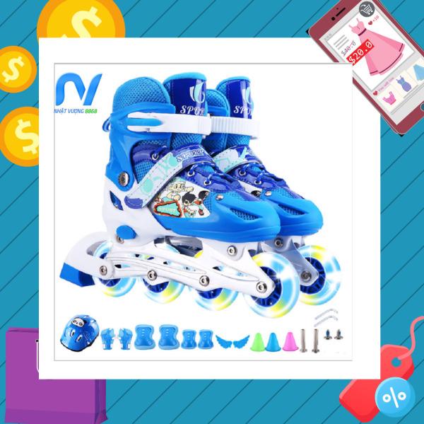 Giá bán Giày patin, giày patin trẻ em, giày patin 4 bánh màu Hồng, bánh xe phát sáng + Tặng bộ bảo hộ an toàn