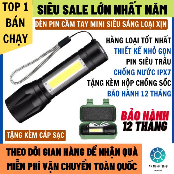 Bảng giá Đèn Pin Siêu Sáng Cầm Tay Loại Mới Có Đèn Phụ Chống Nước Bảo Hành 12 Tháng Tặng Kèm Cáp Sạc Và Hộp Chống Sốc, đèn pin, đèn pin siêu sáng, Đèn pin cầm tay