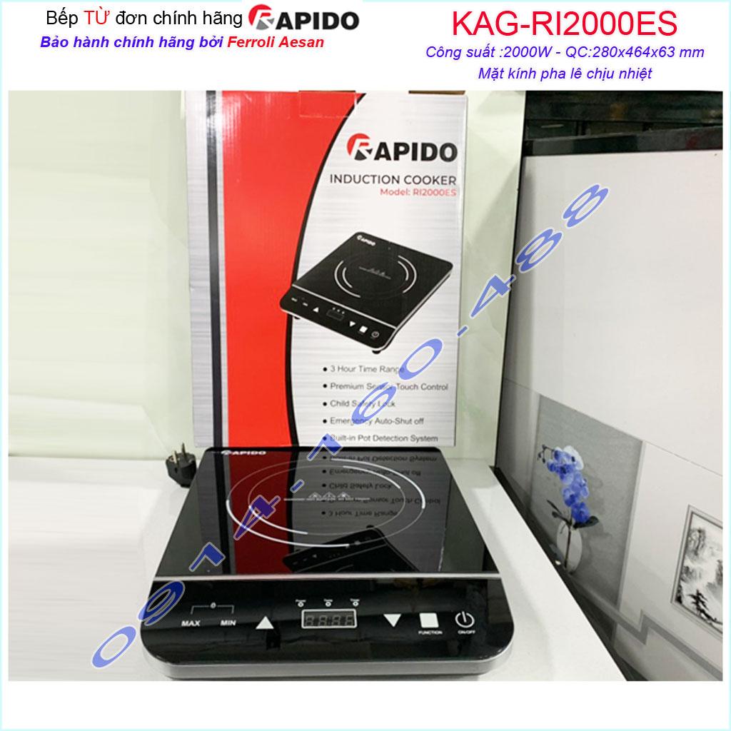 Bếp điện từ đơn Rapido KAG-RI2000ES, sales 50% bếp từ đơn nấu nhanh ít hao điện sử dụng tiện lợi