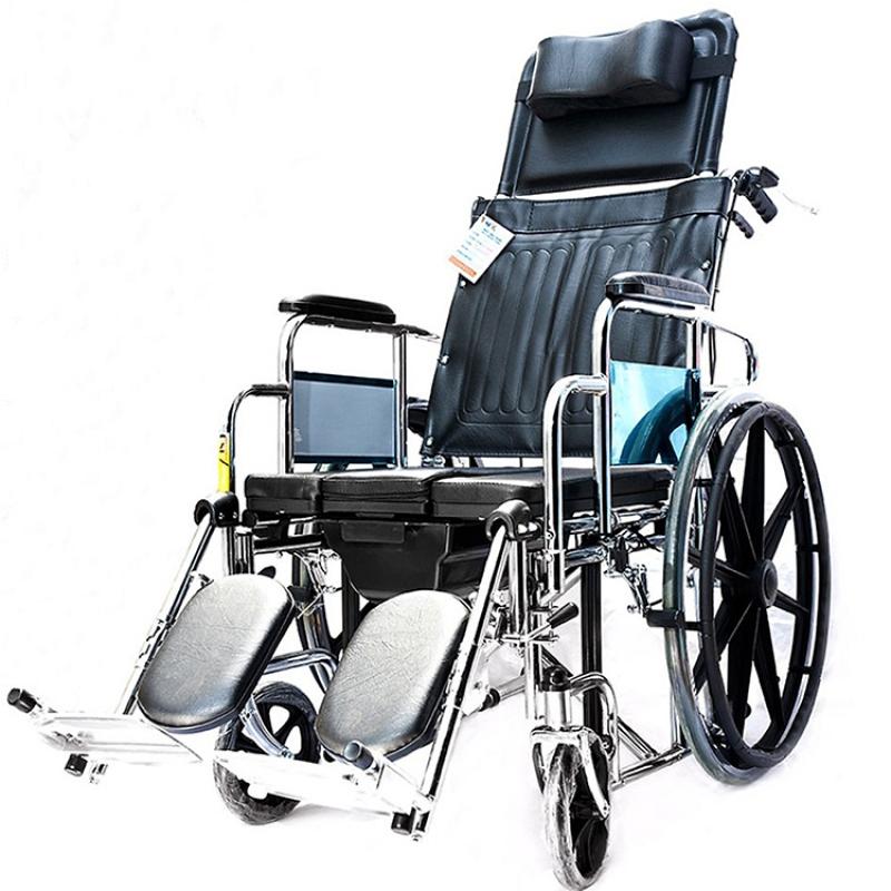 Xe lăn đa năng cao cấp X7/X7A –  Có bô vệ sinh, ngả nằm, 2 tay phanh – khung hợp kim mạ crom, chỗ ngồi và tựa bằng da simili – CAM KẾT HÀNG CHÍNH HÃNG – BH 6TH