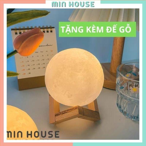 Bảng giá Đèn ngủ để bàn mặt trăng đế gỗ size 8cm trang trí phòng sử dụng Pin tiện lợi