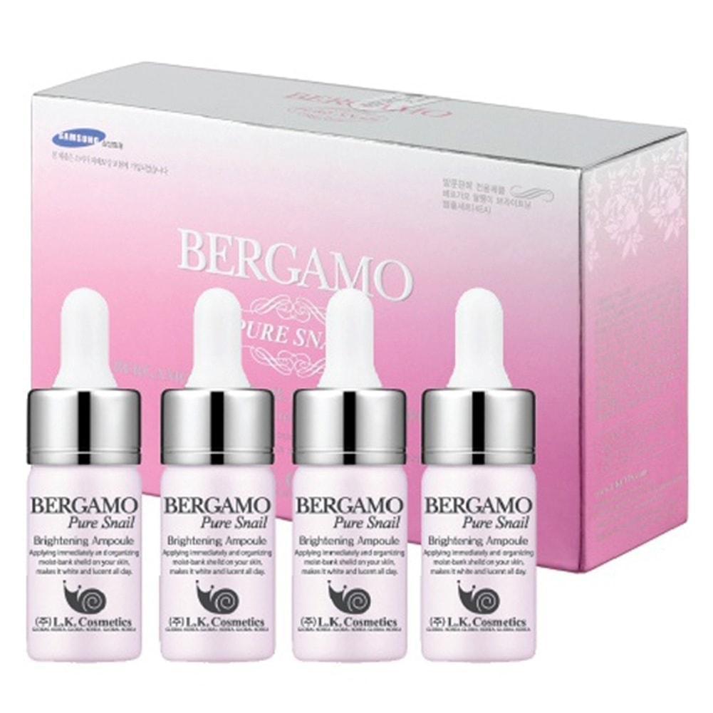 Set 4 Chai Siêu Tinh Chất Dưỡng Trắng Tái Tạo Da Từ Ốc Sên Bergamo Pure Snail Brightening Ampoule 13mlx4