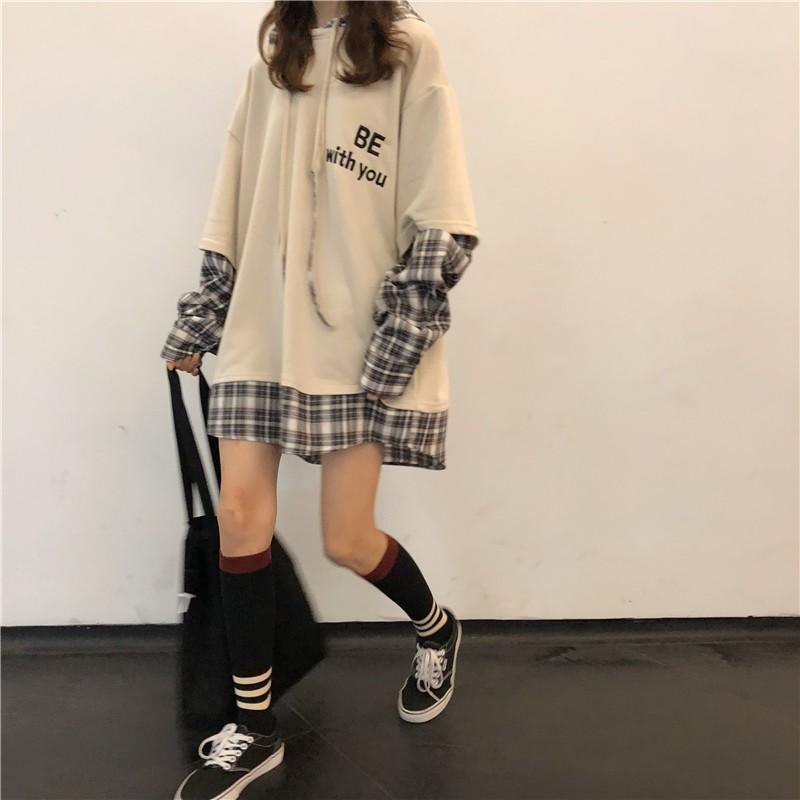 Áo hoodie dài tay nam nữ  pha tay sơ mi BE WITH ME Form rộng uzzlang (Thời trang hàn quốc thu đông) - 5